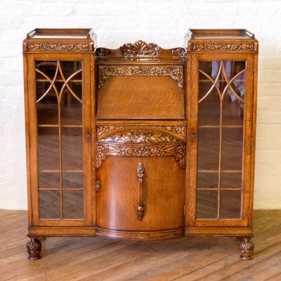 Oak Secretaire With Display Cabinets 1920s 1