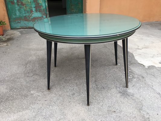 Round Mid Century Modern Table With Glass Top By Umberto Mascagni