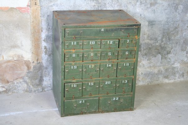 Vintage Metal Filing Cabinet With 19 Drawers 1950s 1