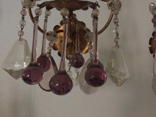 Lampade da parete antiche in bronzo e vetro set di in vendita
