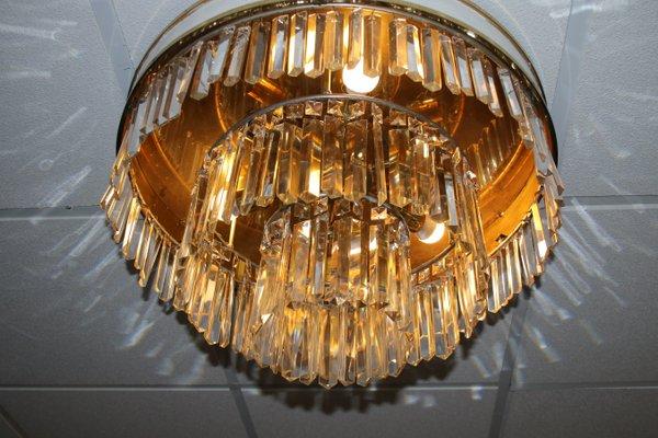 Großer Kronleuchter aus Kristallglas von Dr. Jahn Wolfgang für L.A. Reidinger, 1968