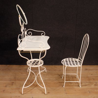 Italian Painted Iron Dressing Table With Chair, 1960s