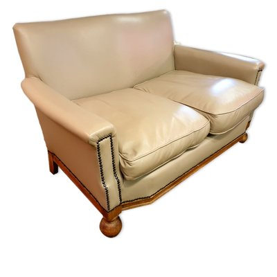 Small Art Deco Leather Sofa 1930s 1