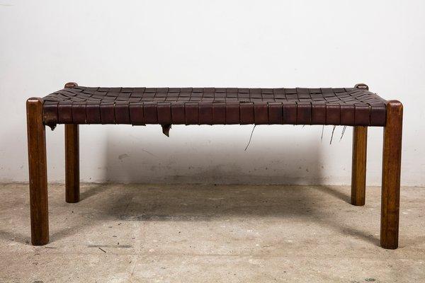 Awe Inspiring Mid Century Woven Leather Bench Creativecarmelina Interior Chair Design Creativecarmelinacom