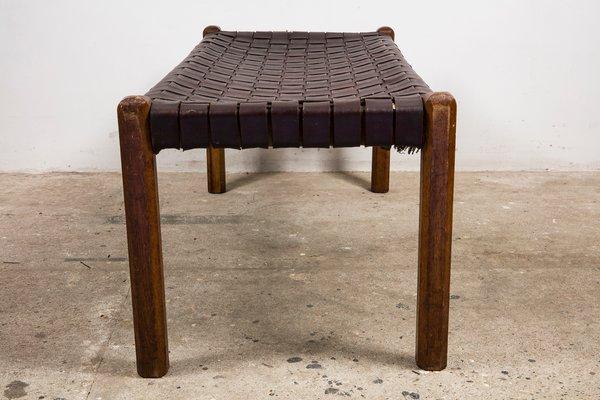 Fabulous Mid Century Woven Leather Bench Creativecarmelina Interior Chair Design Creativecarmelinacom