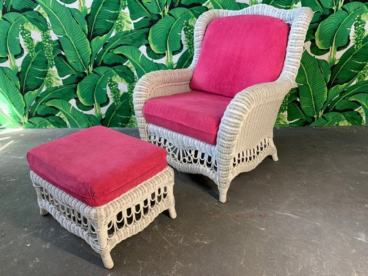 Swell White Wicker Wingback Chair And Ottoman 1960S Inzonedesignstudio Interior Chair Design Inzonedesignstudiocom