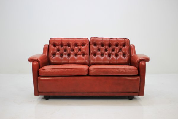 Danish Two Seater Red Leather Sofa, 1960s