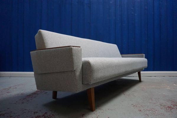 Mid Century Danish Grey Tweed 3 Seater Sofa 1960s