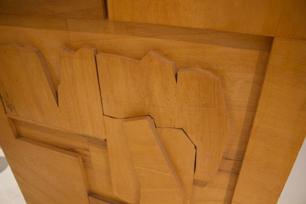Paravento in legno decorato, anni \'60