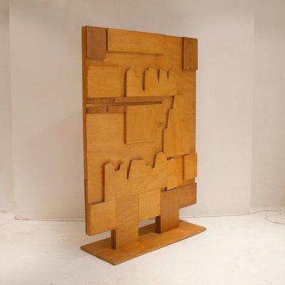 Paravento in legno decorato, anni \'60 in vendita su Pamono