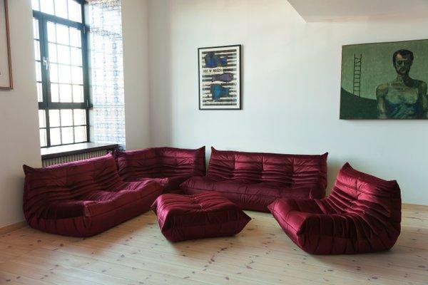Togo Living Room Set in Burgundy Velvet by Michel Ducaroy for Ligne Roset,  1979