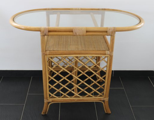 Wicker And Bamboo Coffee Table 1980s
