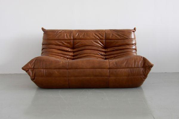 Brilliant Vintage Cognac Leather Togo Living Room Set By Michel Ducaroy For Ligne Roset 1970S Machost Co Dining Chair Design Ideas Machostcouk