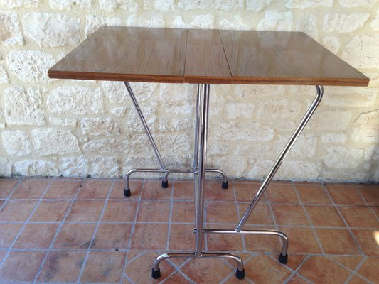 Gambe Pieghevoli Per Tavoli Vendita.Tavolo Pieghevole Mid Century In Formica Con Gambe Cromate In