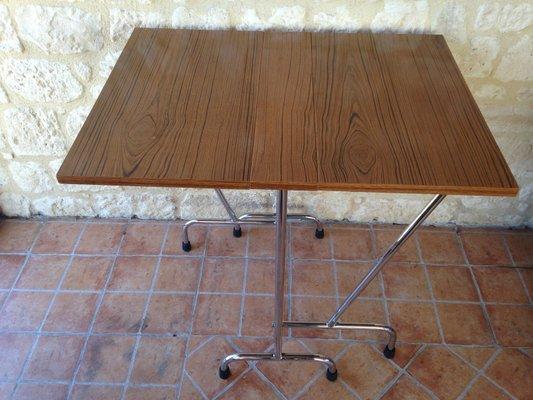 Formica En Pliante Pieds Century Avec Table Chrome Imitation Bois Mid hdsrQt