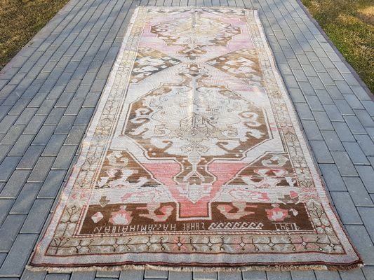 Vintage Turkish Handmade Runner Carpet 1
