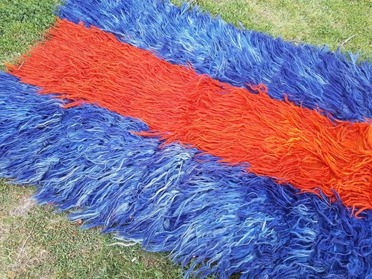 de96812b564 Vintage Turkish Tulu Rug with Orange and Blue Mohair for sale at Pamono