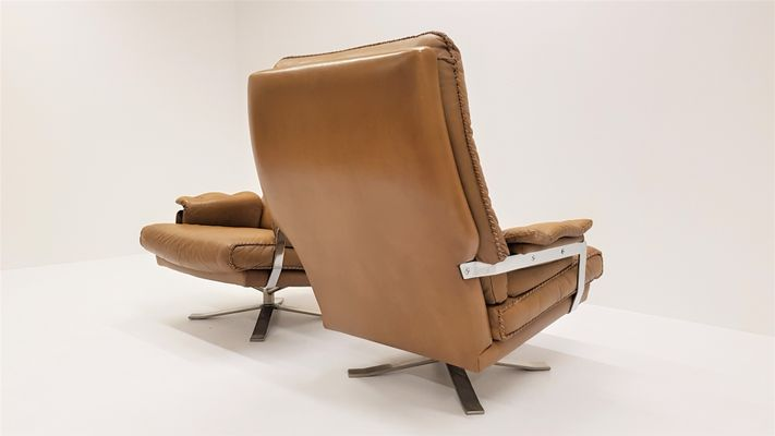 65a99015eb695 Chrome   Leather Swivel Lounge Chairs by Arne Norell for Vatne Møbler