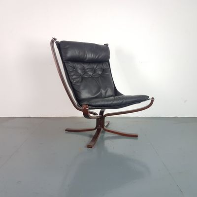 Vintage Black High Back Falcon Chairs By Sigurd Resell For Vatne Møbler,  Set Of