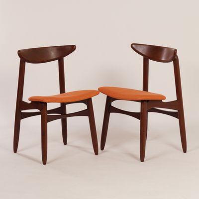 Danish Teak And Orange Fabric Dining Chairs, 1960s, Set Of 2