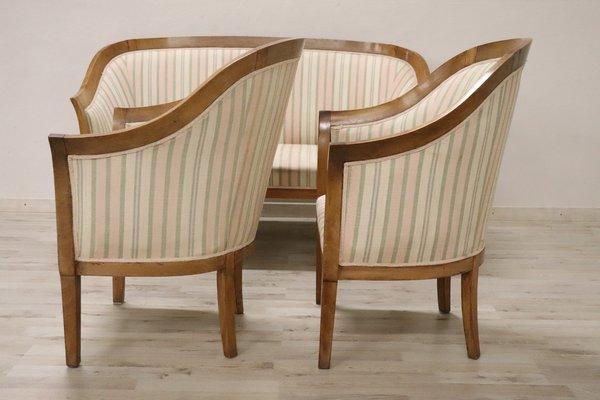 Salotto Art Nouveau.Art Deco Walnut Lounge Set 1930s