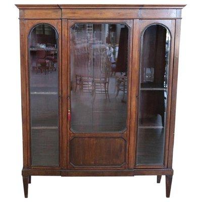 Libreria o vetrina antica in legno di pioppo, fine XIX secolo in ...