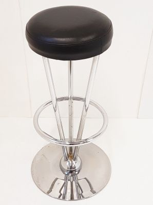 Admirable Black Leatherette Stainless Steel Bar Stool 1970S Ncnpc Chair Design For Home Ncnpcorg