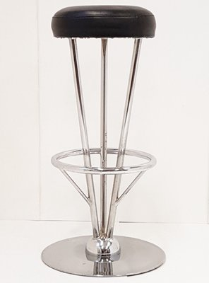 Phenomenal Black Leatherette Stainless Steel Bar Stool 1970S Ncnpc Chair Design For Home Ncnpcorg