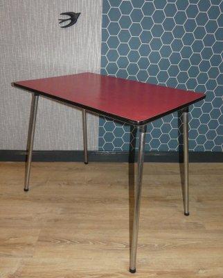 Mesa de cocina vintage de cromo y formica, años 50