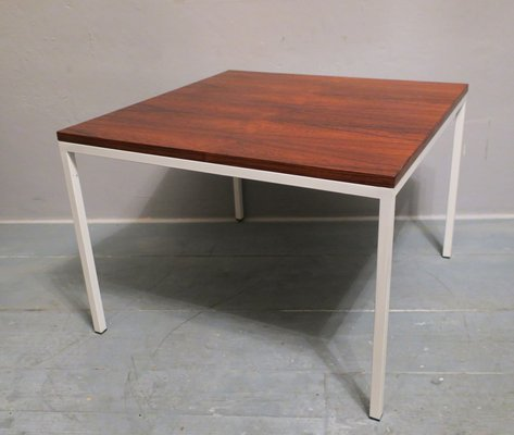 Mid Century Rosewood Coffee Table With White Lacquered Metal Legs