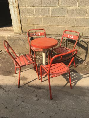 Vintage Bistro Table And 4 Chairs 1950s