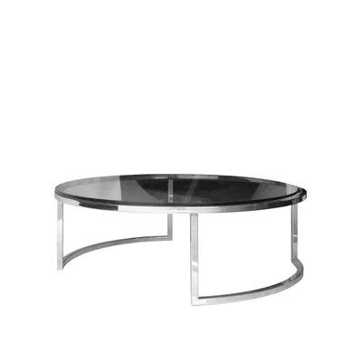 Circular Mid Century Italian Chrome, Glass U0026 Steel Coffee Table, 1960s