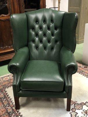 Peachy Green Leather Chesterfield Lounge Chair 1970S Machost Co Dining Chair Design Ideas Machostcouk