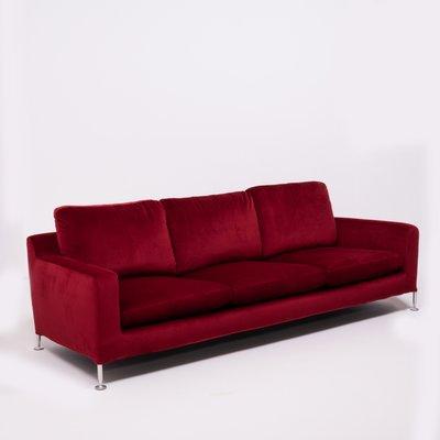 Red Velvet Three-Seat Harry Sofa by Antonio Citterio for B&B Italia, 1990s