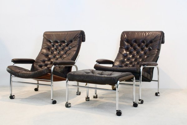 Amazing Bore Lounge Chairs With Footstool By Noboru Nakamura For Ikea 1970S The Exceptional Machost Co Dining Chair Design Ideas Machostcouk