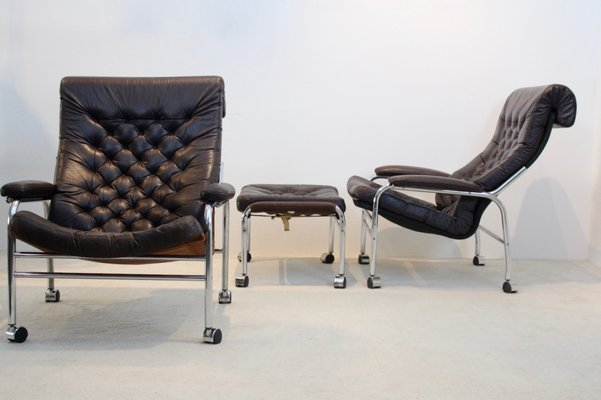 Bore Lounge Chairs with Footstool by Noboru Nakamura for Ikea, 1970s The  Exceptional