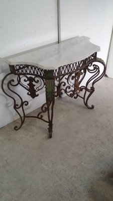 separation shoes 31d33 0329e Wrought Iron & Carrara Marble Console Table, 1900s