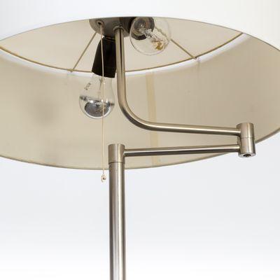 Metal Leather Wood Swing Arm Floor Lamp 1980s