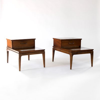 Mid Century Modern Walnut Inlay Two Tier End Tables From Lane Furniture Set Of 2