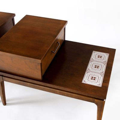 4cac734965412 Mid-Century Modern Walnut Inlay Two-Tier End Tables from Lane Furniture