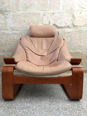 Vintage Scandinavian hook Leather Armchair by Åke Fribytter Nelo Möbel