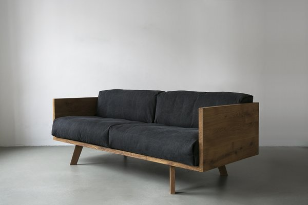 Oak Linen Sofa By Philipp Roessler