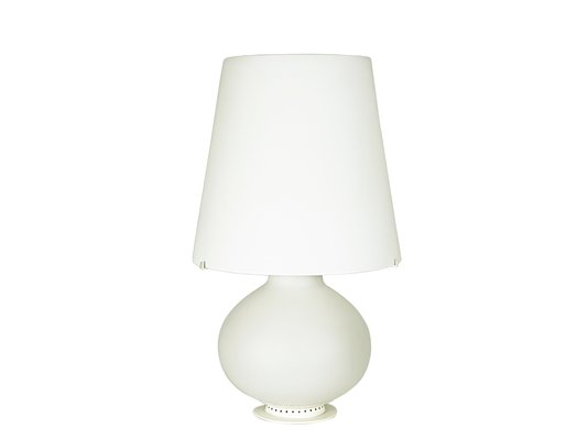 Large 1853/1 White Metal & Milk Glass Table Lamp by Max Ingrand for ...