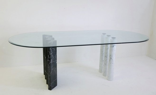 Black And White Dining Table With Marble Glass Top 1970s For Sale At Pamono