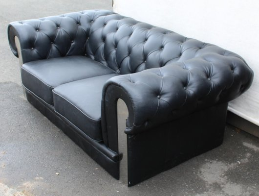 Miraculous Mid Century Black Leather 2 Seater Chesterfield Sofa Pabps2019 Chair Design Images Pabps2019Com