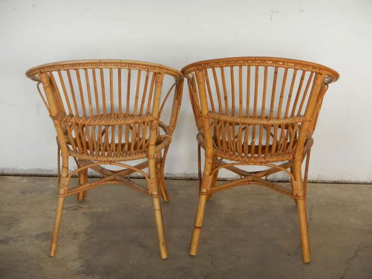 Astounding Italian Rattan Wicker Chairs 1970S Set Of 2 Download Free Architecture Designs Intelgarnamadebymaigaardcom