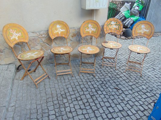 Industrial Painted Garden Metal Chairs, 1950s, Set of 5