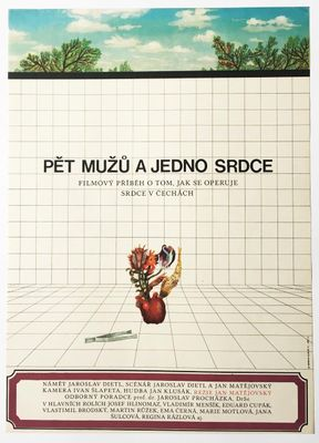Vintage Five Men and One Heart Movie Poster by Bedřich Dlouhý, 1971