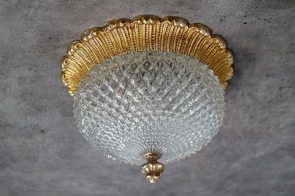 Applique in stile regency in cristallo e oro di limburg anni 70 in