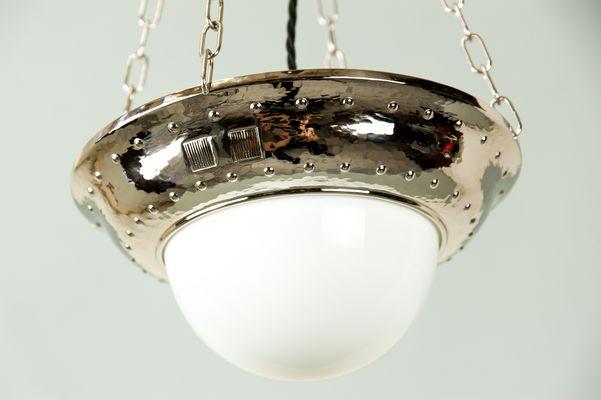Nickel En Art Lampe Déco Verre1920s À Suspension Et DE29IH